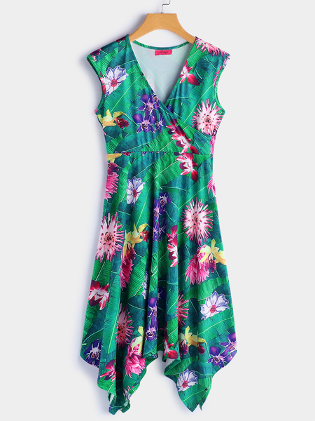 Yoins Green Random Floral Print V-neck Sleeveless Midi Dress