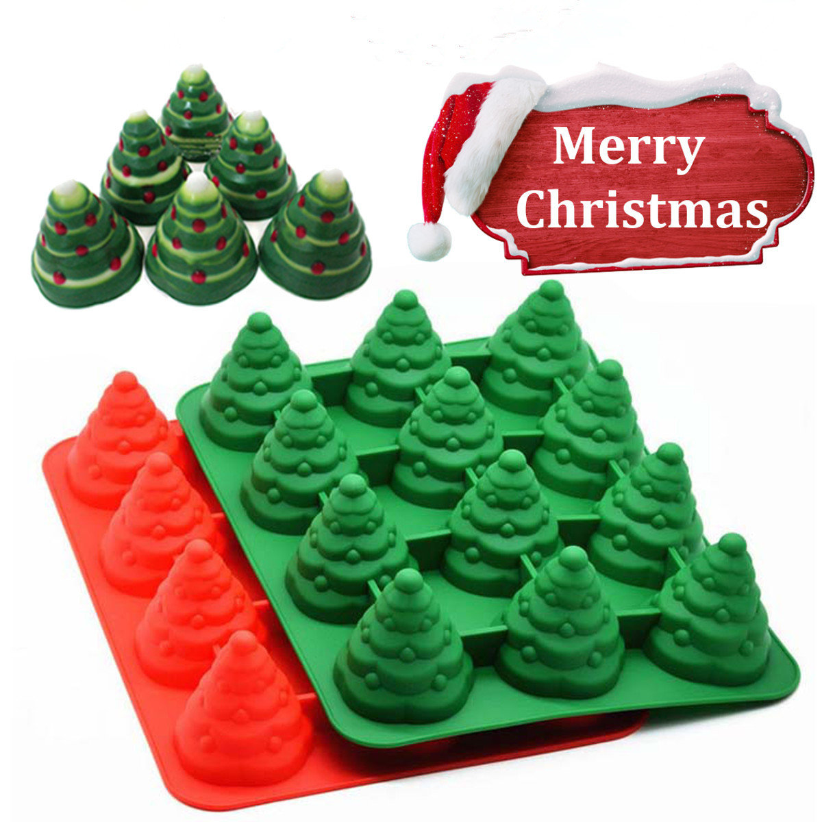 12 Holes Christmas Tree Cake Mold Mousses Silicone Mould Cake Pan Tin Tray