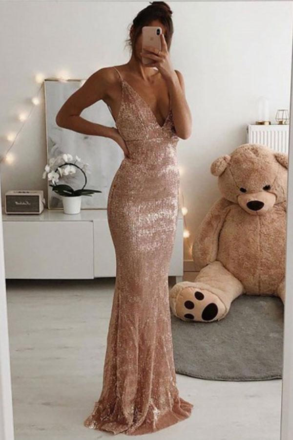 Dusty Rose Spaghetti Strap Columna con cuello en V profunda Vestidos de baile largos y baratos en linea