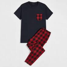 Top mit Taschen vorn & Hose mit Karo Muster Schlafanzug Set