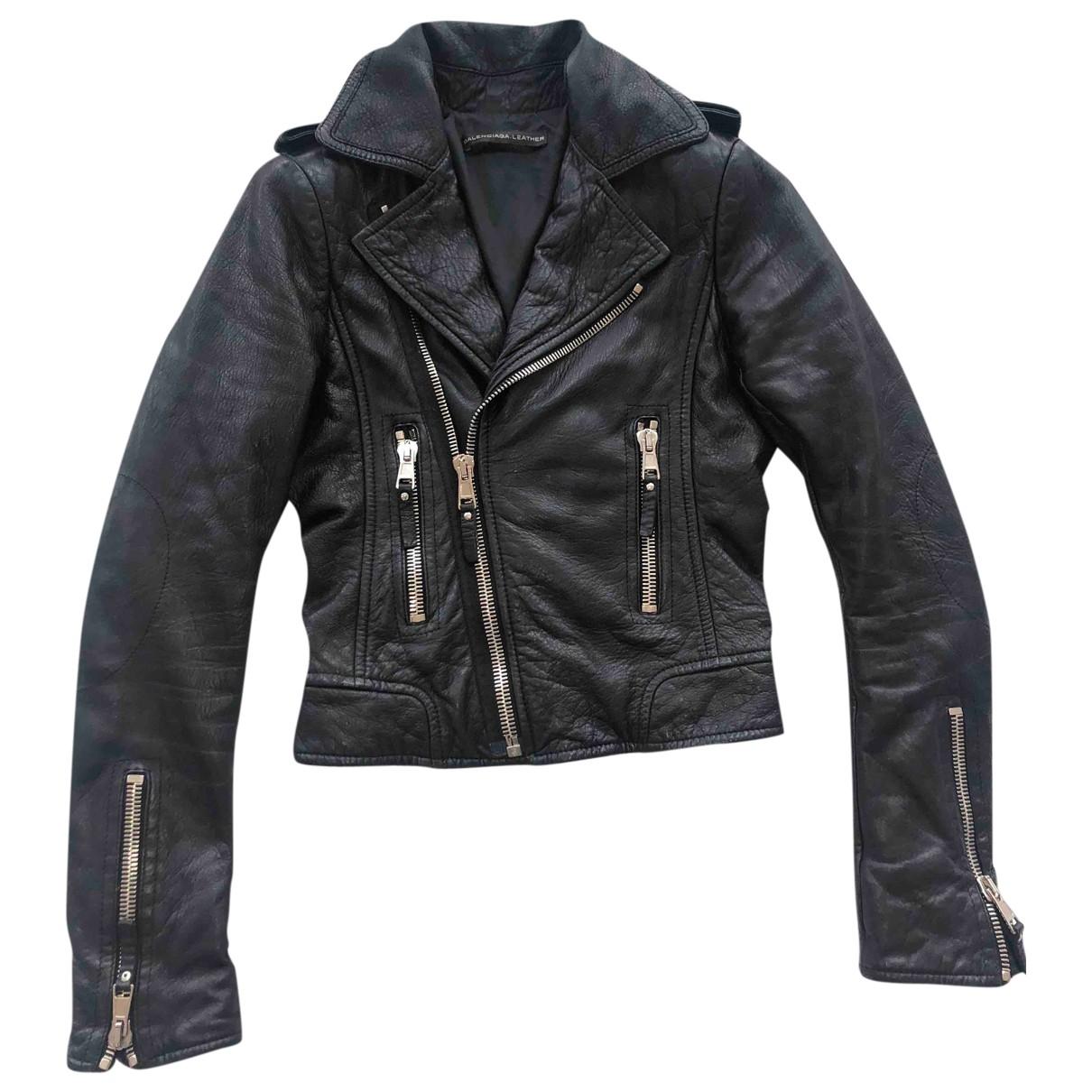 Balenciaga - Blouson   pour femme en cuir - noir