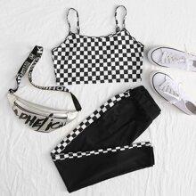 Checkerboard Crop Cami & Pants