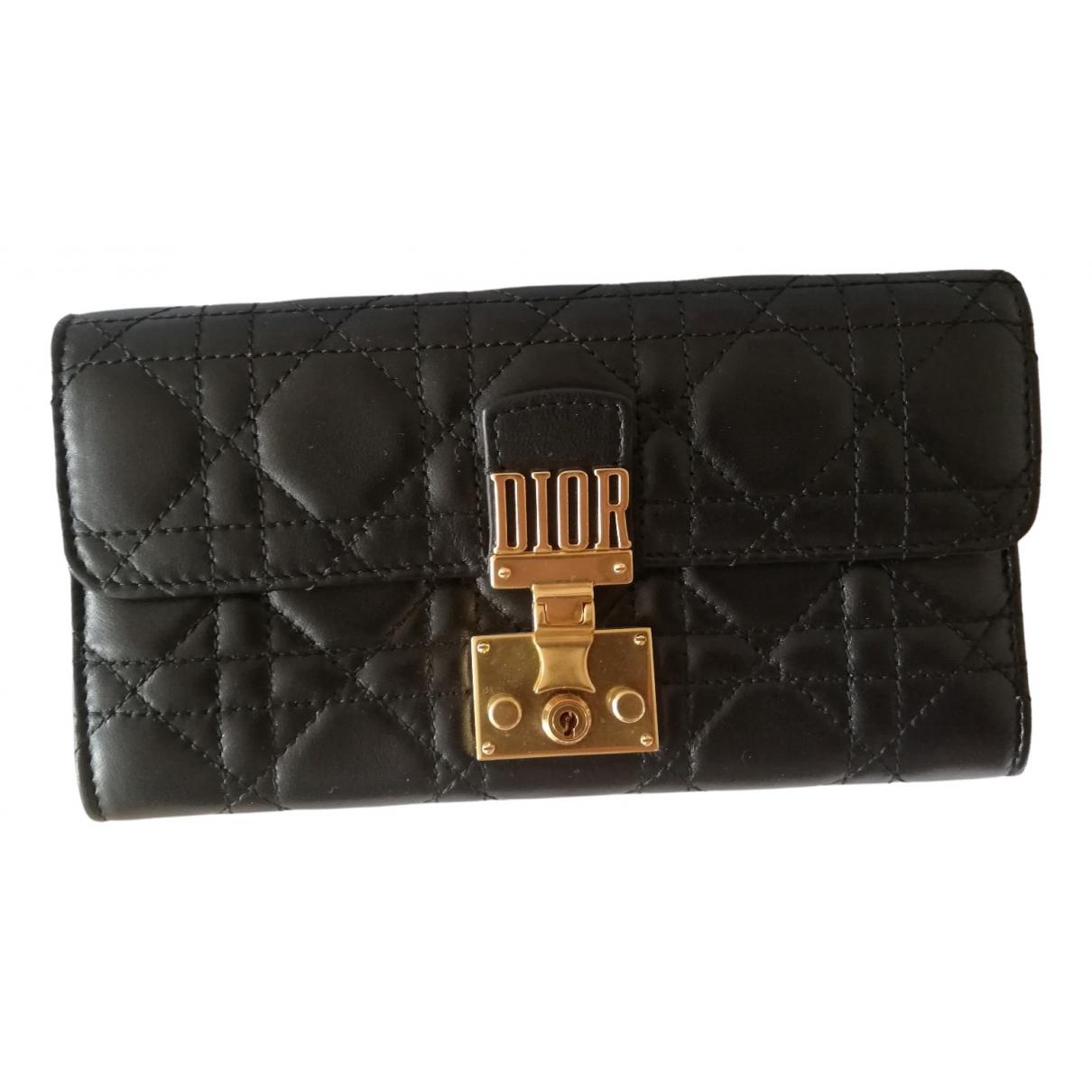 Dior - Portefeuille DiorAddict pour femme en cuir - noir