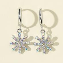 Rhinestone Decor Floral Drop Earrings