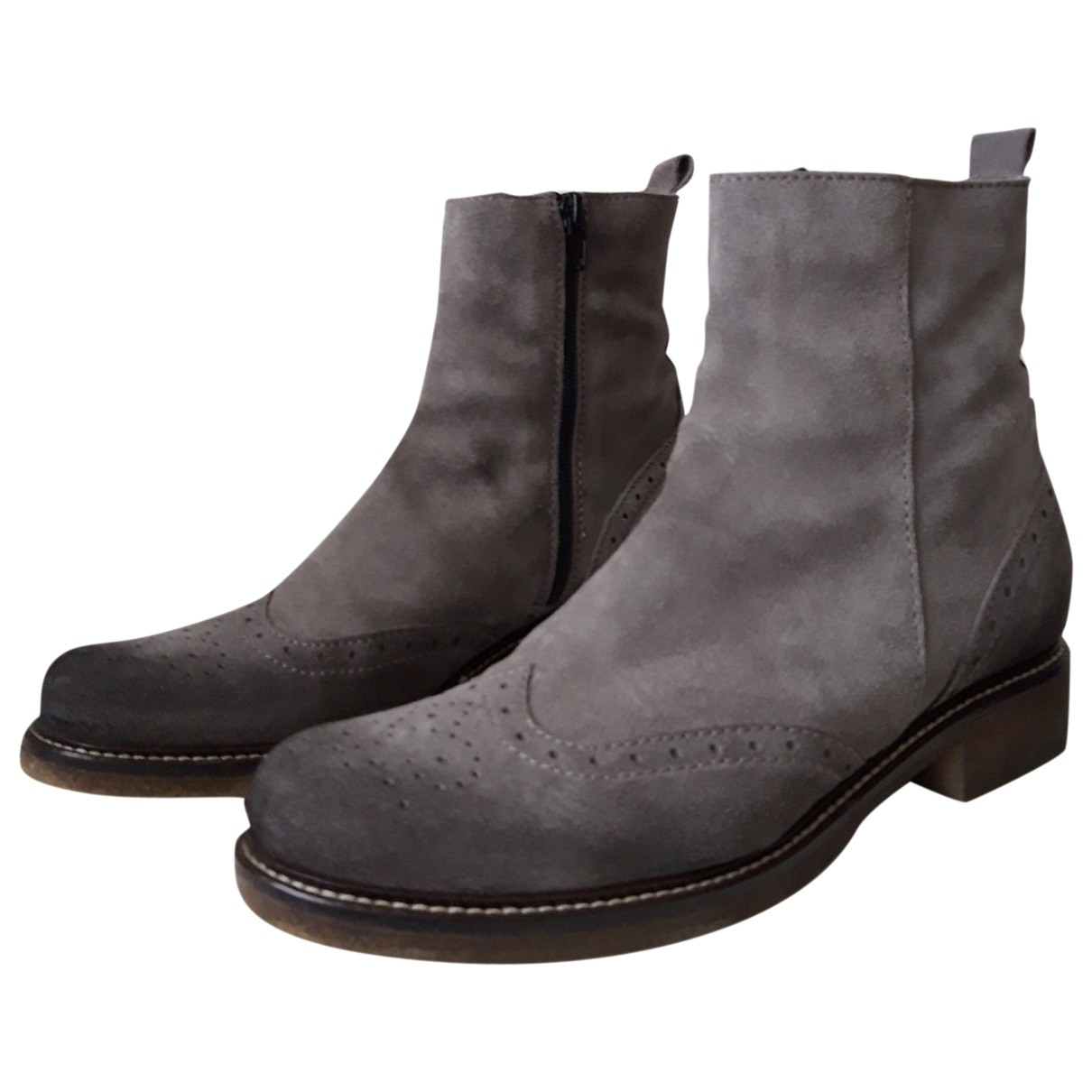Non Signé / Unsigned \N Grey Suede Ankle boots for Women 39 IT