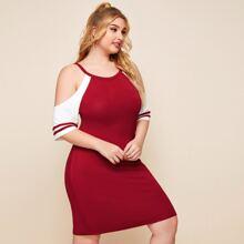 Schulterfreies Kleid mit Kontrast und Streifen