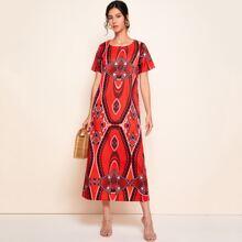 Vestido tunico con estampado tribal