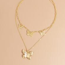 Mehrschichtige Halskette mit Schmetterling Dekor