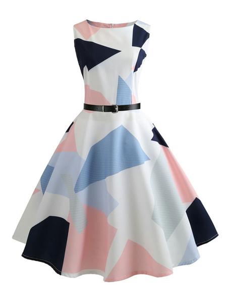 Milanoo White Vintage Dress 1950s Style Sleeveless Geometric Print Midi Dress