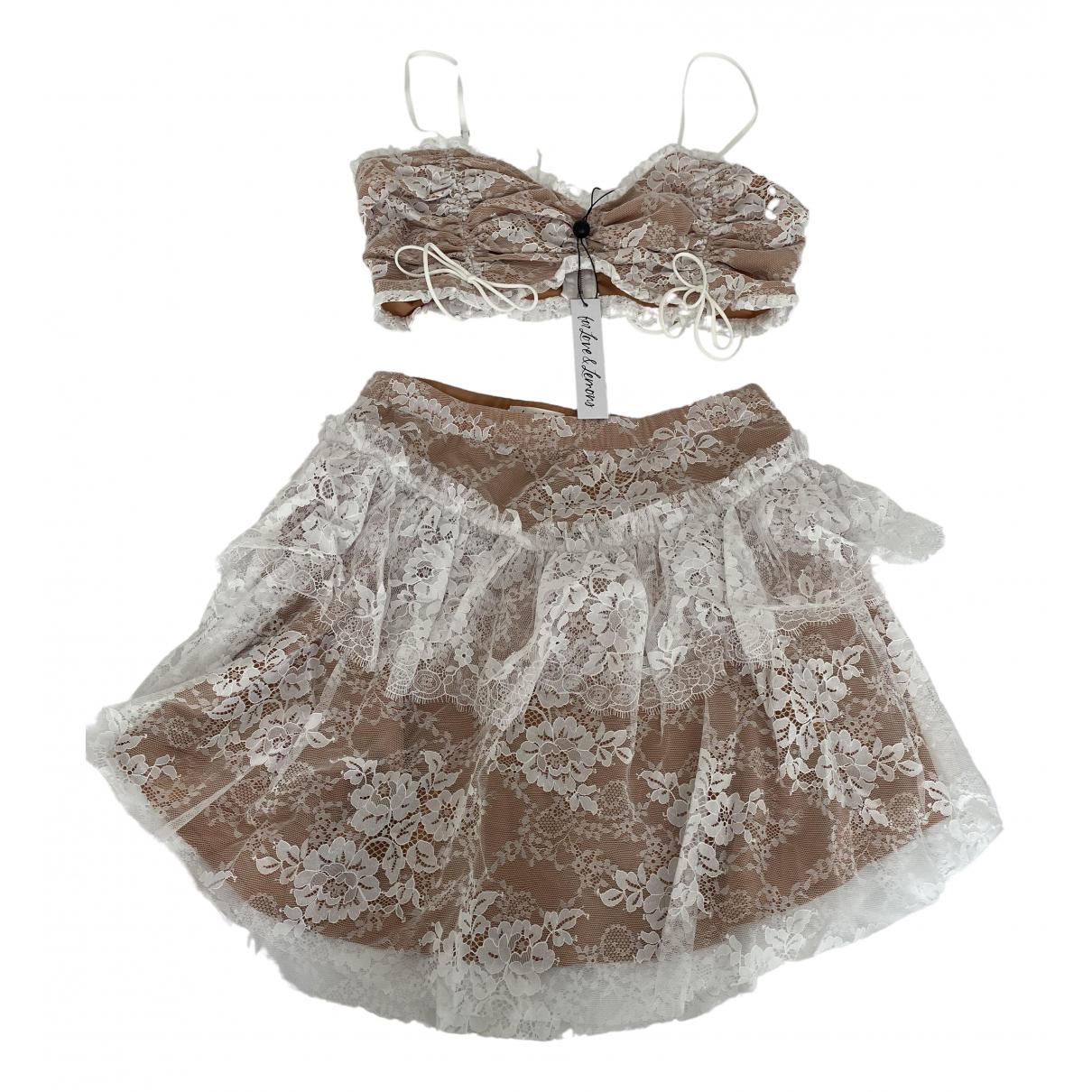 For Love & Lemons \N White Lace dress for Women M International