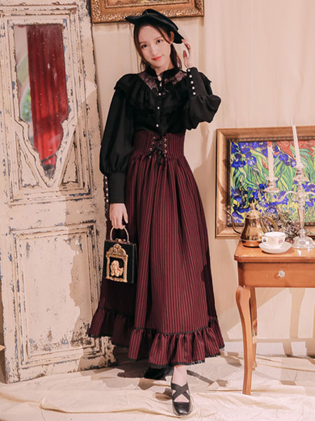 Milanoo Classic Lolita SK Alpine Girl Lace Up Ruffle Stripe Cotton Linen Lolita Skirt
