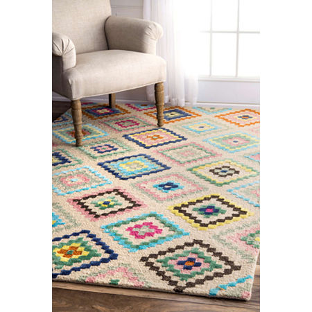nuLoom Hand Tufted Tribal Diamond Orval Rug, One Size , White