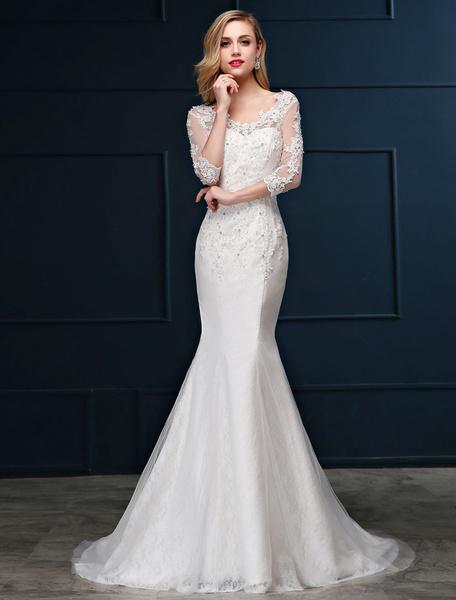 Milanoo Vestido de novia de sirena con cuentas con cuello en V cintura natural Sin espaldo con 3/4 manga de silueta sirena Con cola