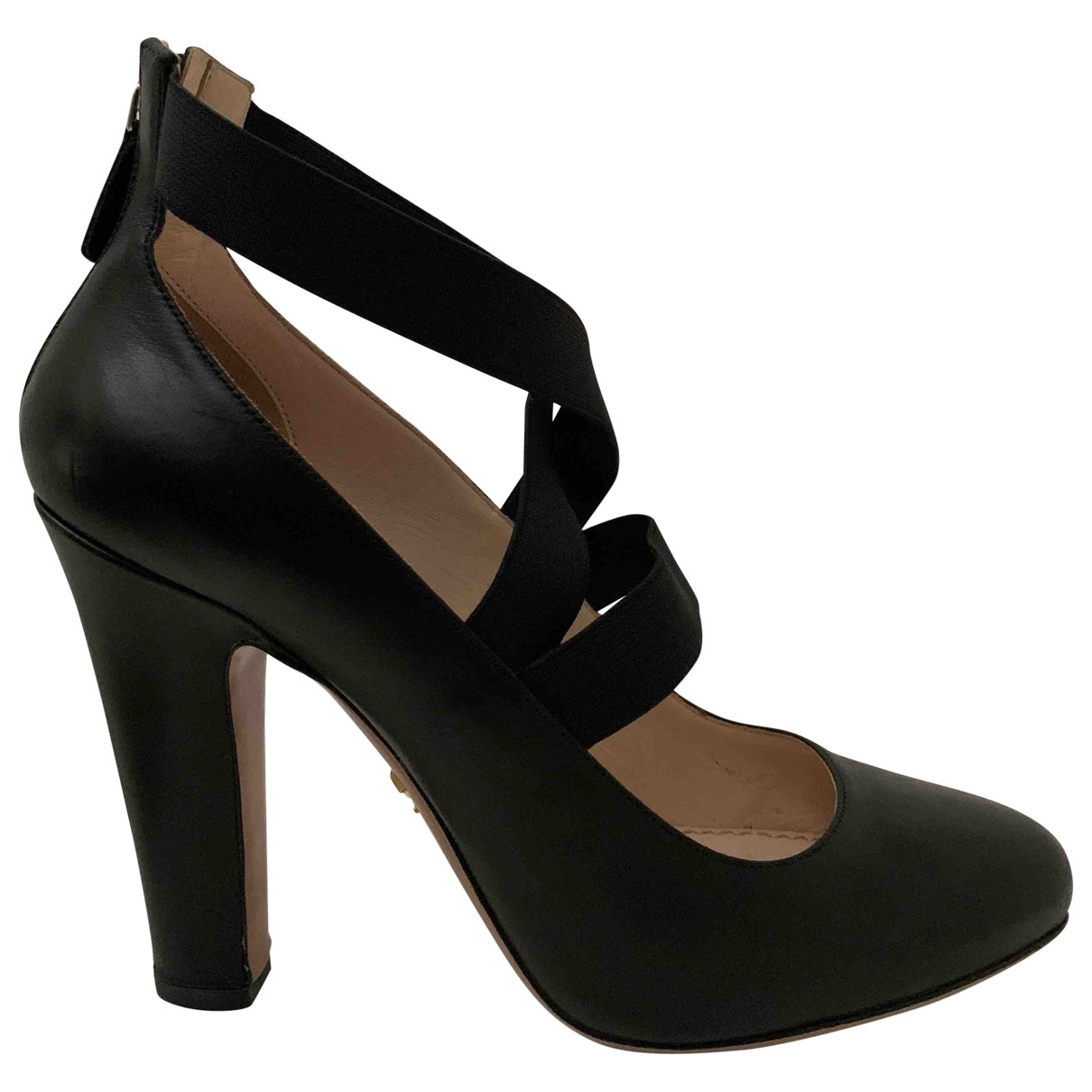 Prada \N Black Leather Heels for Women 37.5 IT