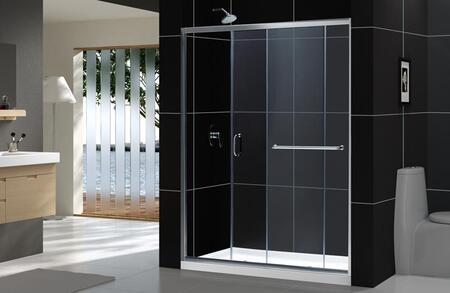 DL-6971C-01CL Infinity-Z 32 In. D X 60 In. W X 74 3/4 In. H Clear Sliding Shower Door In Chrome And Center Drain White