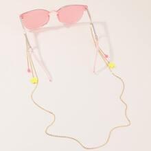 Maedchen Perle & Blume Charm Brille Kette