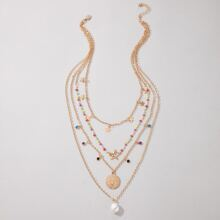 Faux Pearl Decor Layered Necklace