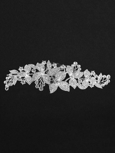 Milanoo Silver Bridal Comb Headpieces Rhinestone Beaded Wedding Hair Accessories