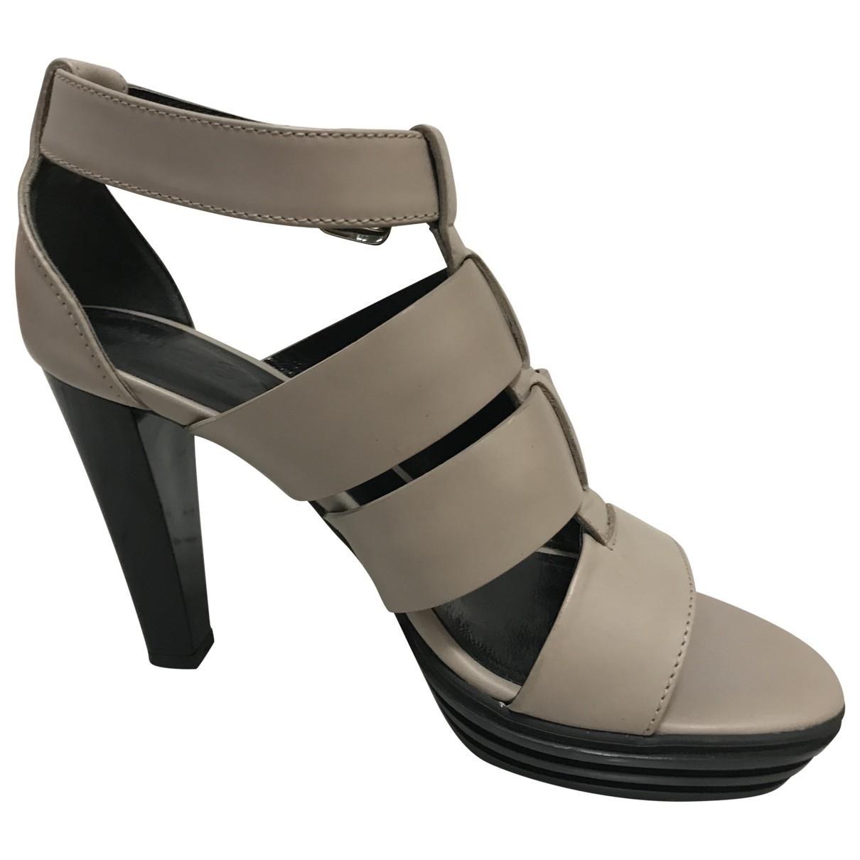 Hogan - Sandales   pour femme en cuir - ecru