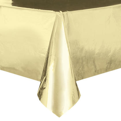 Party Plastic Table Cover Rectangular Foil Gold 54