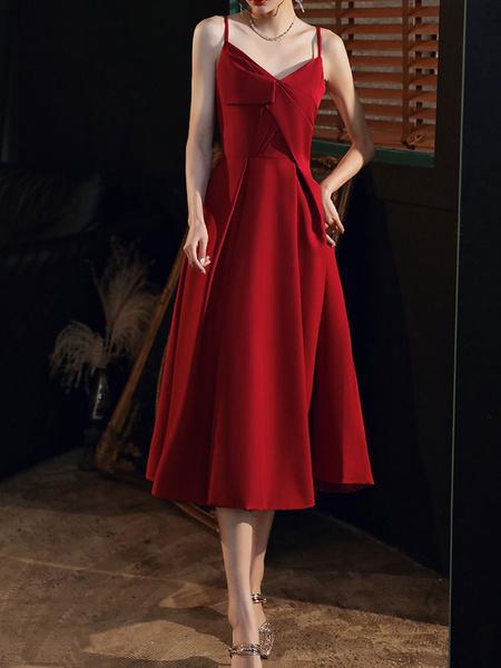 Milanoo Evening Dress A-Line V-Neck Matte Satin Tea-Length Ruffles Formal Dinner Dresses