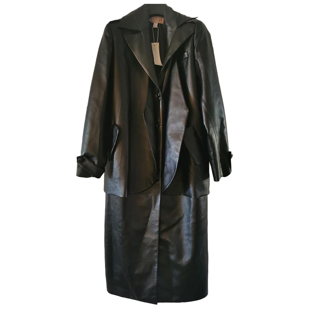 Materiel - Manteau   pour femme en cuir - noir