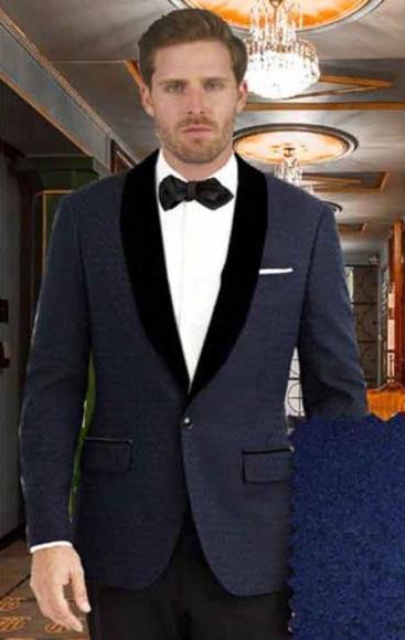 Men's Single Dark Blue Shawl Lapel 1 Button Closure Tuxedo Suit
