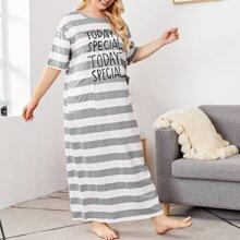 Plus Striped & Slogan Graphic Night Dress