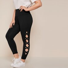 Plus Crisscross Cutout Detail Leggings
