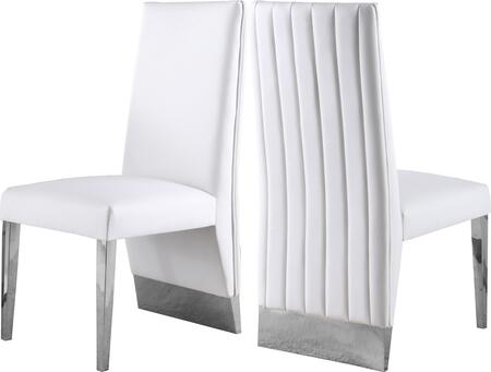 Porsha Collection 750WHITE-C Set of 2 Dining Chairs with Faux Leather Upholstery  Channel Tufting  Chrome Metal Legs and Contemporary Style in