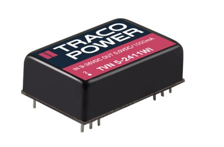 TRACOPOWER TVN 5WI 5W Isolated DC-DC Converter Through Hole, Voltage in 4.5 → 12 V dc, Voltage out 24V dc