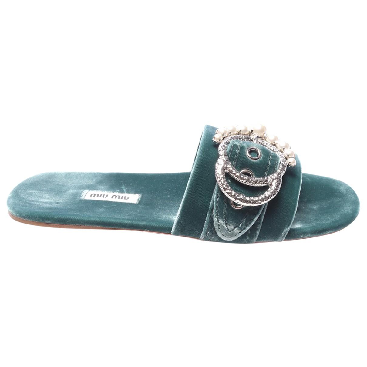 Miu Miu - Sandales   pour femme en cuir exotique - vert