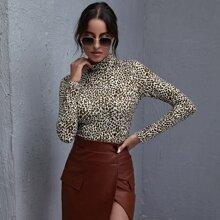 T-Shirt mit Stehkragen und Leopard Muster