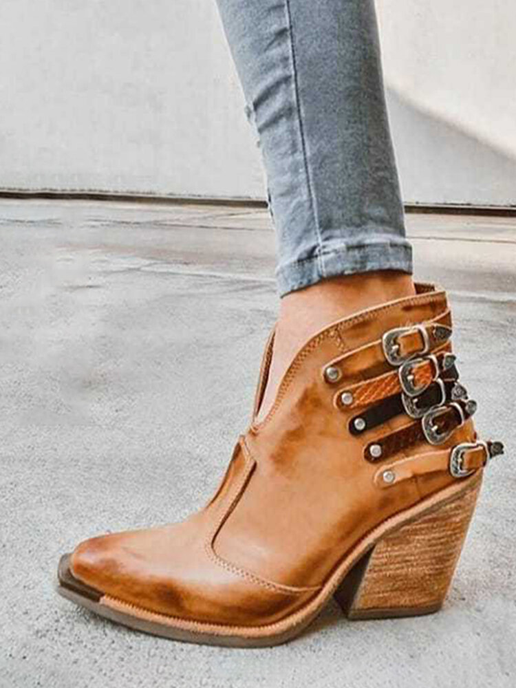 Women Large Size Pointed Toe Casual Retro Elegant Chunky Heel Ankle Boots