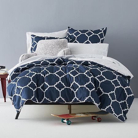 Home Expressions Tiles Complete Bedding Set with Sheets, One Size , Blue