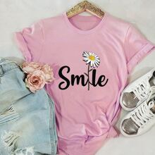 Daisy And Letter Graphic Tee