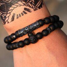 2 Stuecke Maenner Armband mit Tier Dekor