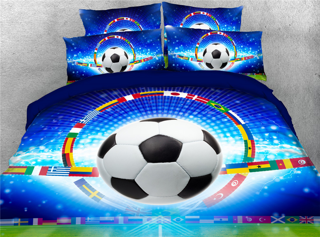 Rolling Football And National Flag Skin-friendly Endurable Five-Piece Set Machine Wash Comforter Set Reactive Printing Polyester Bedding Sets