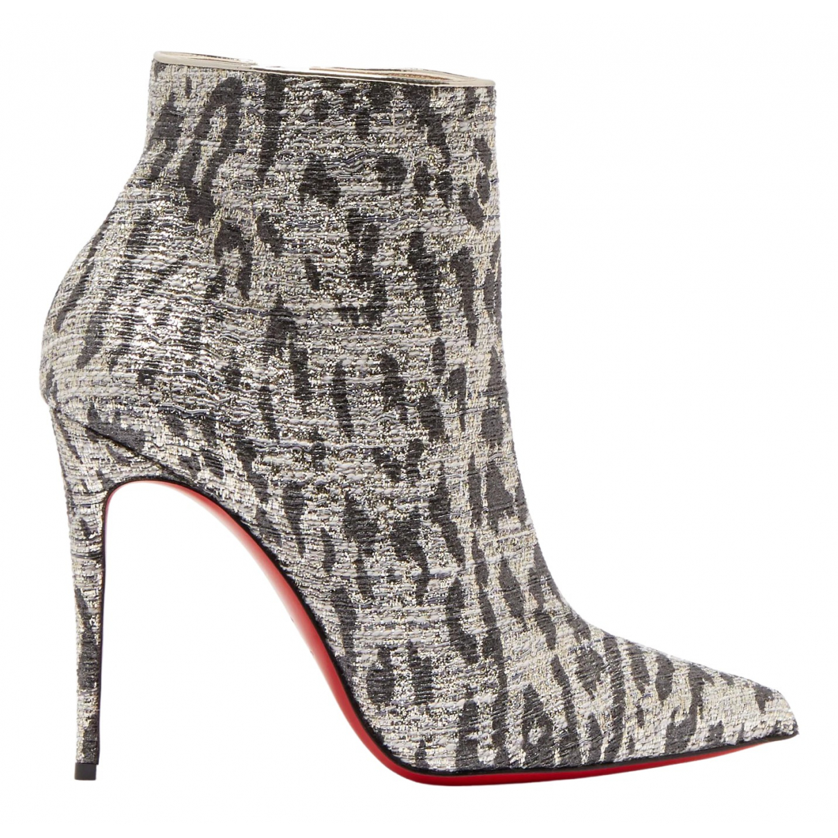 Christian Louboutin So Kate Booty Silver Cloth Ankle boots for Women 39 EU