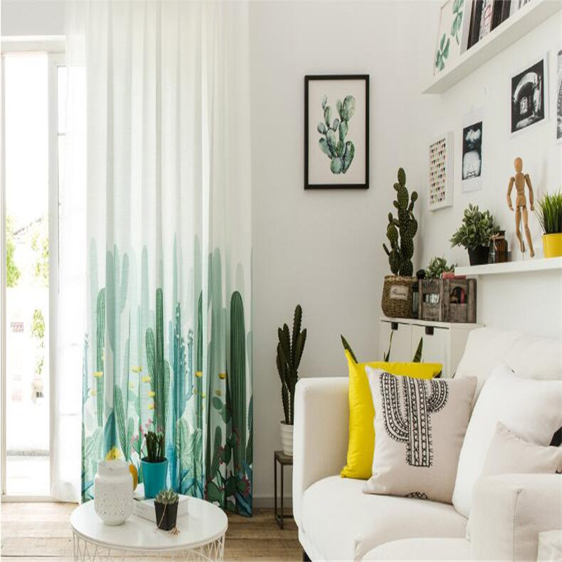 Decorative and Blackout White and Green Cactus Printing Pastoral and Fresh Curtain