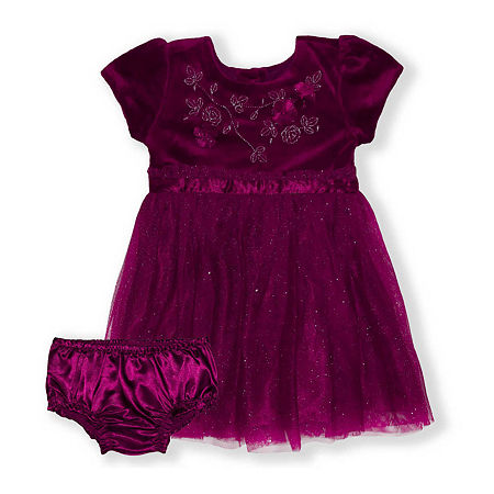 Nannette Baby Baby Girls Short Sleeve A-Line Dress, 18 Months , Red