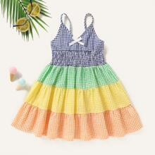 Toddler Girls Gingham Cut And Sew Shirred Cami Dress