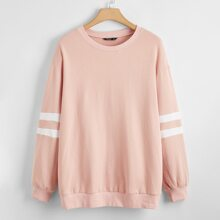 Plus Striped Colorblock Pullover