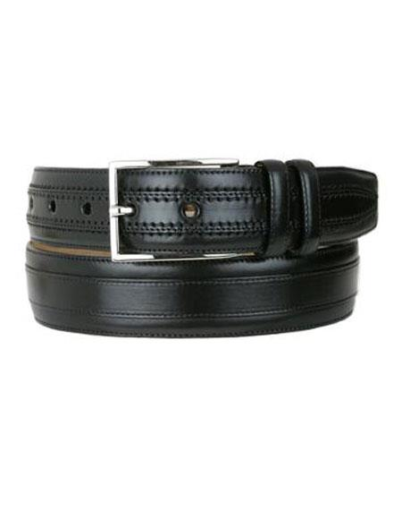 Mezlan Men's Genuine Leather Black Handmade Belt