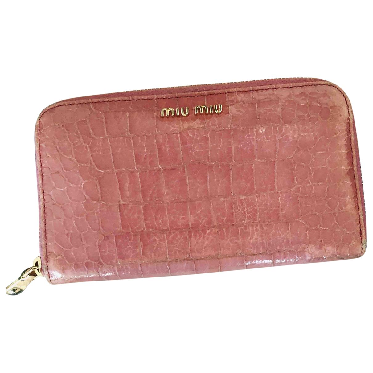 Miu Miu - Portefeuille   pour femme en crocodile - rose
