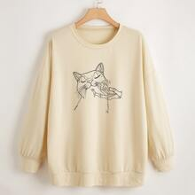 Plus Cat And Skeleton Hand Print Sweatshirt