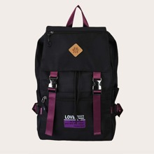 Release Buckle Front Letter Graphic Backpack