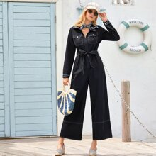 Topstitching Flap Pocket Belted Shirt Jumpsuit
