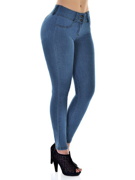 Yoins Button Design Super Stretch Denim Jeans