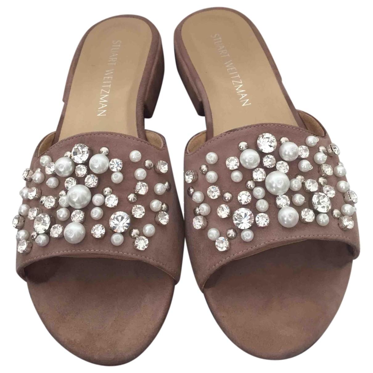 Stuart Weitzman \N Beige Suede Sandals for Women 38.5 EU
